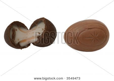 Unwrapped Easter Chocolate. Chocolate Eggs