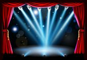 image of flood-lights  - Stage background illustration with blue stage spot lights pointing to the centre of the stage and red curtain frame - JPG