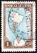 Postage stamp Argentina 1951 Map Showing Antarctic Claims