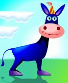 stock photo of jack-ass  - Illustration of a cartoon donkey with cap on head - JPG