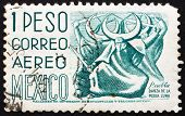 Postage stamp Mexico 1950 Puebla, Dance of the Half Moon