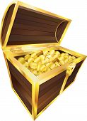Illustration Of Treasure Chest Containing Gold Coins