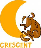 image of crescent-shaped  - Cartoon Illustration of Crescent Basic Geometric Shape with Funny Dog Character for Children Education - JPG