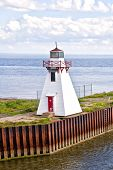 Small lighthouse on a wharf in Wood Islands, Prince Edward Island, Canada.