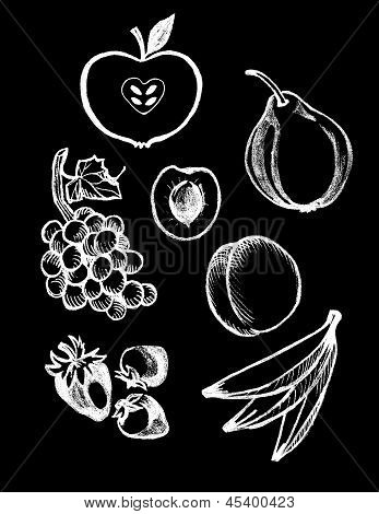 Chalk Board set of Food Illustrations and design elements - Fruit