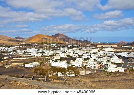 Beautiful Town Of Uga In Volcanic Area Of Lanzarote