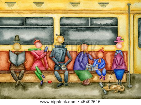 Passengers Of A Subway Car