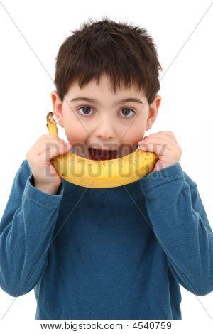 Boy Playing With Banana