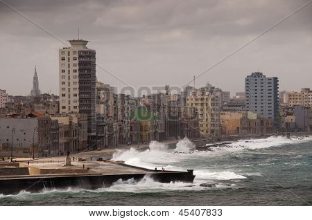 Dramatic weather with big waves at cuban Malecon