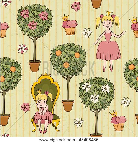 princess background with potted trees