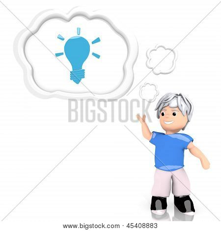 Illustration of a isolated idea sign  thought by a 3d character