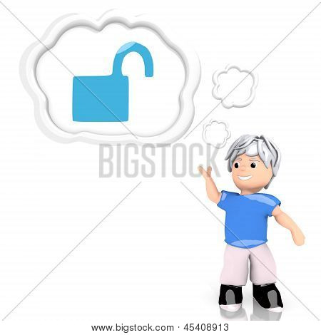 3d render of a creative unsafe icon  thought by a 3d character