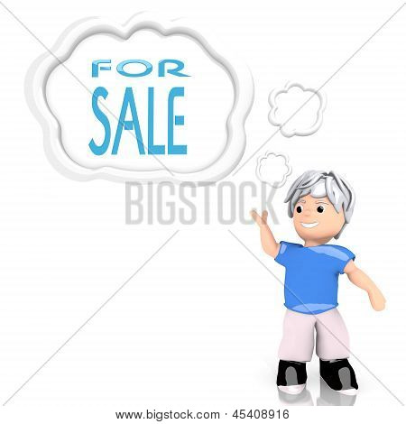 3d graphic of a isolated sale symbol  thought by a 3d character