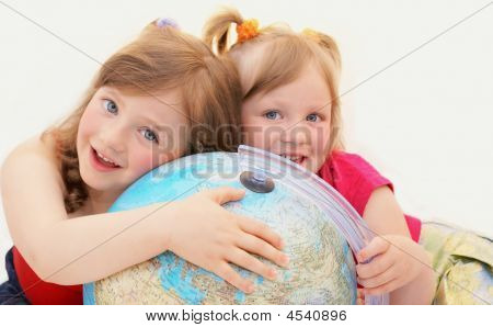 Happy, Girls,kids,siblings, Globe.
