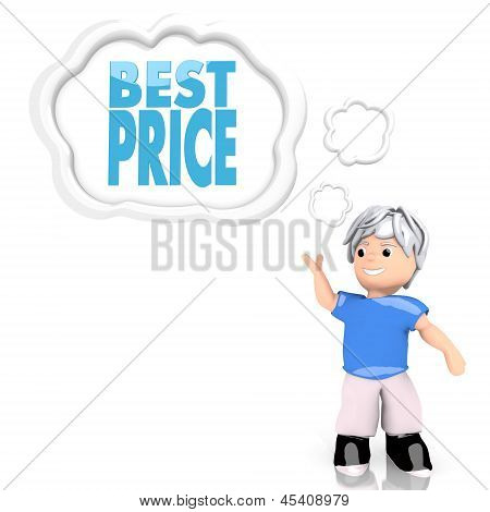 best price sign  thought by a 3d character