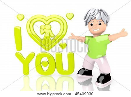 3d graphic of a round I love you sign  with cute 3d character