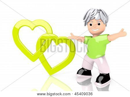 Illustration of a funny two hearts sign  with cute 3d character