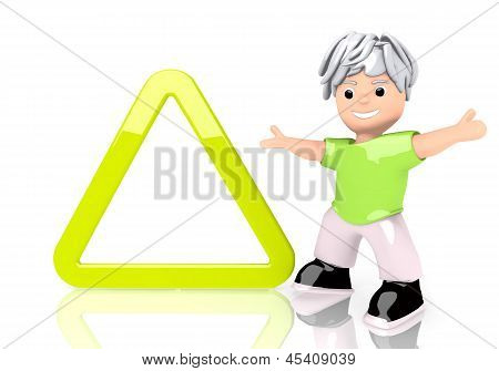 3d graphic of a happy triangle sign  with cute 3d character