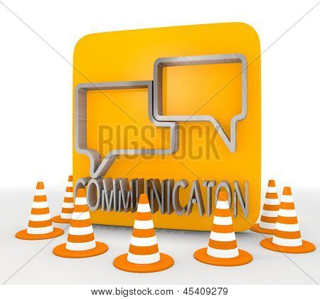 3d render of a metallic communication icon