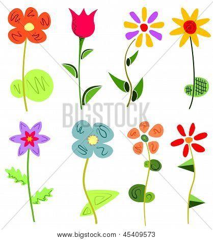 colored floral set