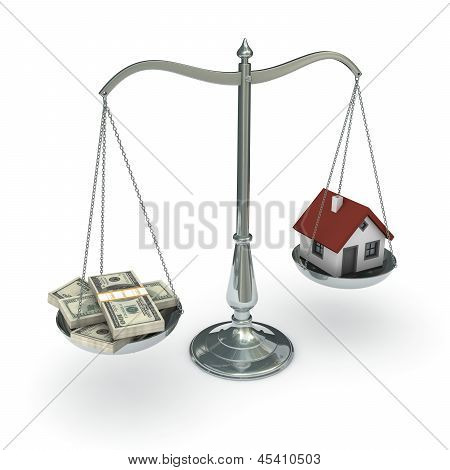 Scales with dollars and house