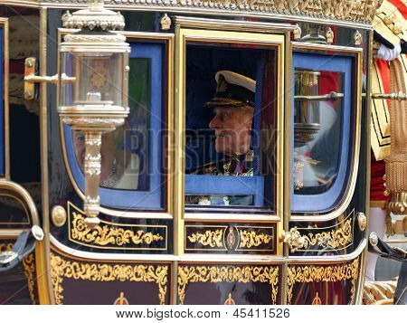 LONDON - UK, MAY 08: Queen Elizabeth II and Prince Philip leaving Buckingham Palace and going to the State Opening of Parliament on May 8, 2013 in London.