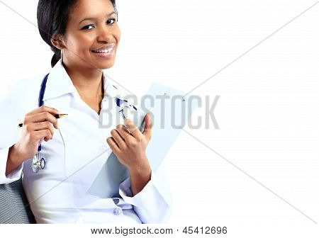 African American nurse medical doctor woman on white background