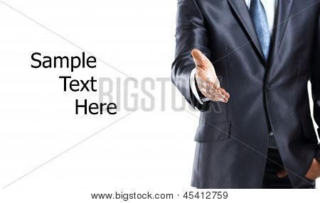 Cropped view of business man extending hand to shake