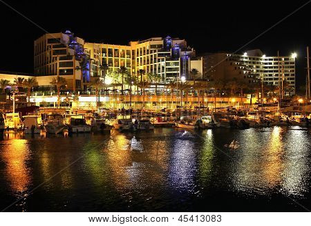 Night View On Hotels In Popular Resort  - Eilat Of Israel