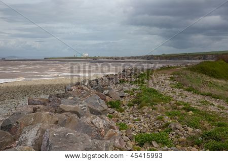 Coastline Hinkley Point nuclear power station Somerset