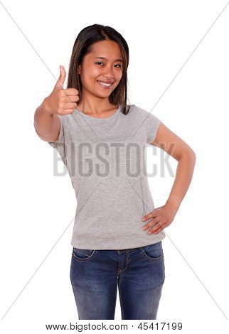 Asiatic Young Woman Showing You Ok Sign