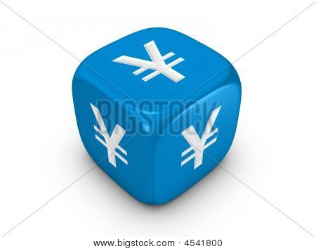 Blue Dice With Yen Sign