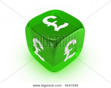 Translucent Green Dice With Pound Sign