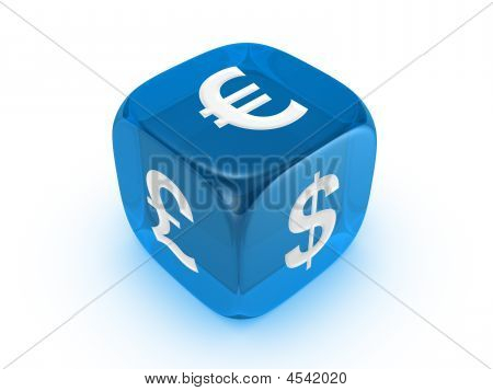 Translucent Blue Dice With Curreny Sign