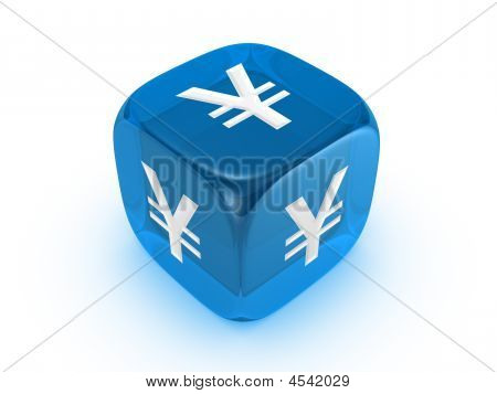 Translucent Blue Dice With Yen Sign