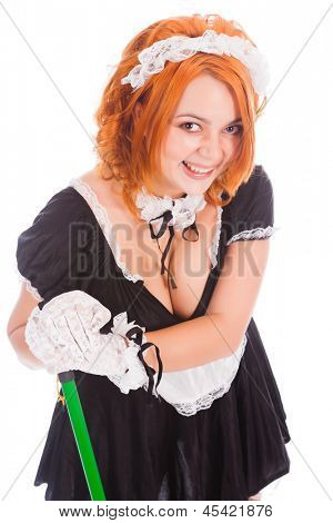 Young smiley charwoman with brush