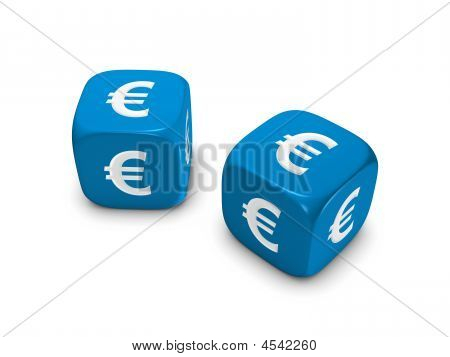 Pair Of Blue Dice With Euro Sign