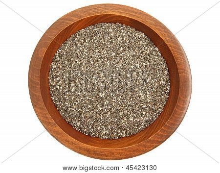 Chia Seeds In Wooded Bowl