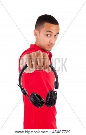 Black Man Having Fun Listening To Music