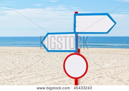 On The Beach Near The Sea, The Sign For Communication.