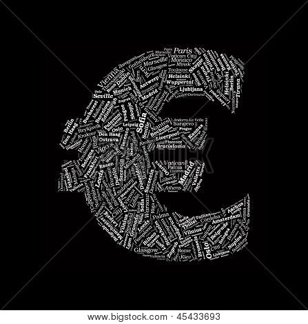 Euro Sign Shaped Vector Word Cloud With European Cities Words On Black Background