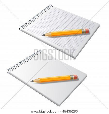 Vector Bloc de notas con lápiz