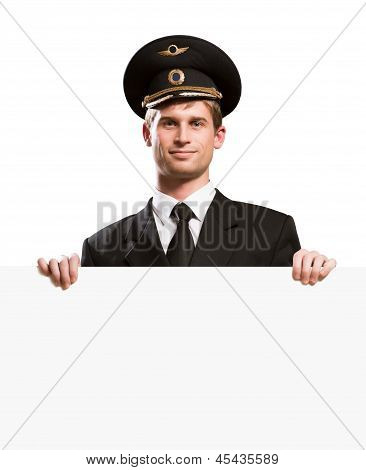 pilot in the form of holding a blank banner