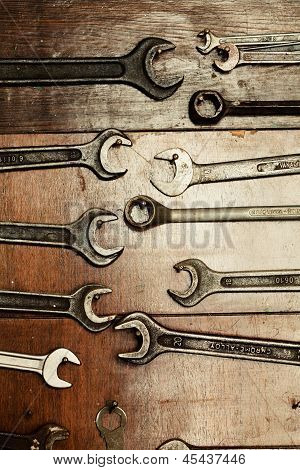 Set Of Wrenches Hanging On A Wall, Do It Yourself