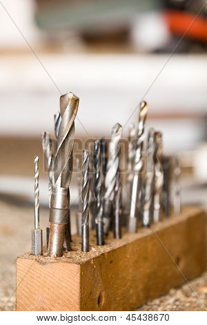 Detail Of Drills On Workshop Table, Shallow Focus