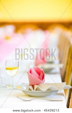 Reception Or Wedding Table Ready, Close Focus