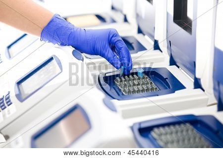Scientist With Dna Copying, Real-time Cycler, Wide