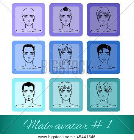 Conjunto de nove Avatares masculinos, pode ser usado no site ou fórum. Ilustração vetorial