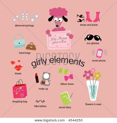 Girly Elemente Vektor-set