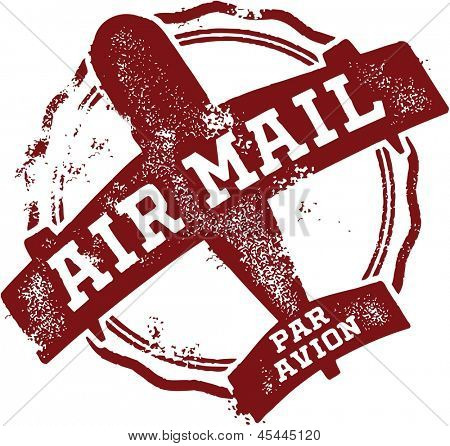Vintage Air Mail - Par Avion Rubber Stamp